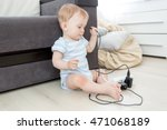 10 months old baby boy pulling... | Shutterstock . vector #471068189