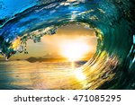 Surfing Colored Ocean Wave...