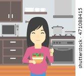 an asian young pregnant woman... | Shutterstock .eps vector #471088415