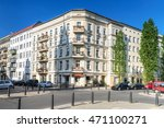 street and restored houses in...