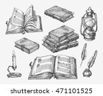 hand drawn vintage books.... | Shutterstock .eps vector #471101525