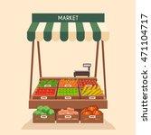 farm shop. local stall market.... | Shutterstock .eps vector #471104717