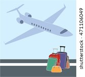 the landing plane and baggage.... | Shutterstock .eps vector #471106049