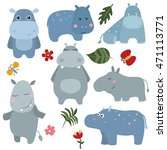 Set Of Different Hippos On...