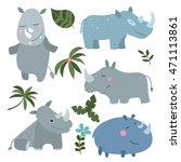 set of different rhinoceroses... | Shutterstock .eps vector #471113861