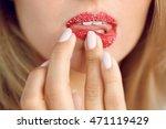 lip skin care. closeup of... | Shutterstock . vector #471119429