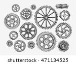 hand drawn vintage gears ... | Shutterstock .eps vector #471134525