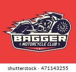 bagger motorcycle badge  vector ...   Shutterstock .eps vector #471143255