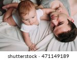 portrait of loving father with... | Shutterstock . vector #471149189