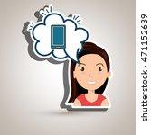woman technology bublle speak... | Shutterstock .eps vector #471152639
