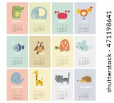 calendar with cute animals 2017 | Shutterstock .eps vector #471198641