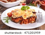 moussaka with aubergine and beef | Shutterstock . vector #471201959