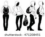 black silhouette of young slim... | Shutterstock .eps vector #471208451