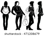 silhouettes of young modern...   Shutterstock .eps vector #471208679