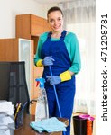 young smiling female cleaner... | Shutterstock . vector #471208781