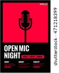 open mic night   flat style...   Shutterstock .eps vector #471218399