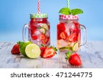 summer strawberry lemonade in a ... | Shutterstock . vector #471244775