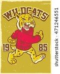 vintage mascot of wildcat
