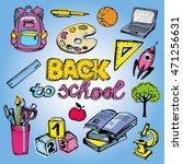 back to school big doodles set. ... | Shutterstock .eps vector #471256631