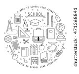 back to school flat line icons... | Shutterstock .eps vector #471268841