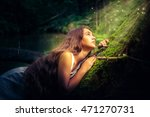 beautiful girl with long hair... | Shutterstock . vector #471270731