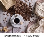 cup of coffee and coffee beans... | Shutterstock . vector #471275909