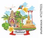 travel thailand landmarks. thai ... | Shutterstock .eps vector #471279221