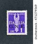 Small photo of 1943 Italy stamp: 1 Lira Air mail overprint GNR