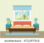Interior space bedroom with a bed near a window. Vector flat illustration | Shutterstock vector #471297515