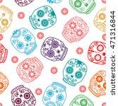 sugar skull seamless pattern.... | Shutterstock .eps vector #471316844