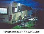 travel trailer camping romantic ... | Shutterstock . vector #471343685