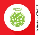 pizza with salami and mushrooms.... | Shutterstock .eps vector #471406211