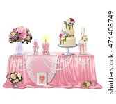 decorated table with wedding... | Shutterstock .eps vector #471408749