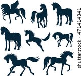 set vector silhouettes of horses | Shutterstock .eps vector #471414341