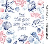poster with seashells  corals... | Shutterstock . vector #471418547