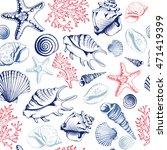 seamless pattern with seashells ... | Shutterstock . vector #471419399