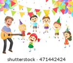 father playing guitar for... | Shutterstock .eps vector #471442424