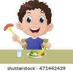 boy  breakfast along with... | Shutterstock .eps vector #471442439