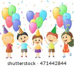 small children at birthday party | Shutterstock .eps vector #471442844