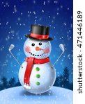 snowman golfer with irons in... | Shutterstock .eps vector #471446189