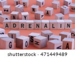Small photo of ADRENALIN word on wooden cube isolated on orange background