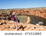 Blonde Woman Hiking In Outback...