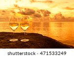 pair of wine glasses next to a...   Shutterstock . vector #471533249