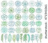 hand drawn line green succulent ... | Shutterstock .eps vector #471541061