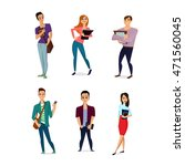 set of diverse college or... | Shutterstock .eps vector #471560045