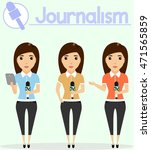 journalism. woman journalist... | Shutterstock .eps vector #471565859