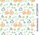 sport fitness objects pattern | Shutterstock .eps vector #471589349