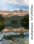 Small photo of Lake Eibsee with Mt. Zugspitze, Germanies highest mountain, in the background with red alpenglow, Garmisch-Partenkirchen, Bavaria, Germany