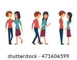 character set of lesbian couple ... | Shutterstock .eps vector #471606599