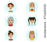 vector set of female avatar... | Shutterstock .eps vector #471620105